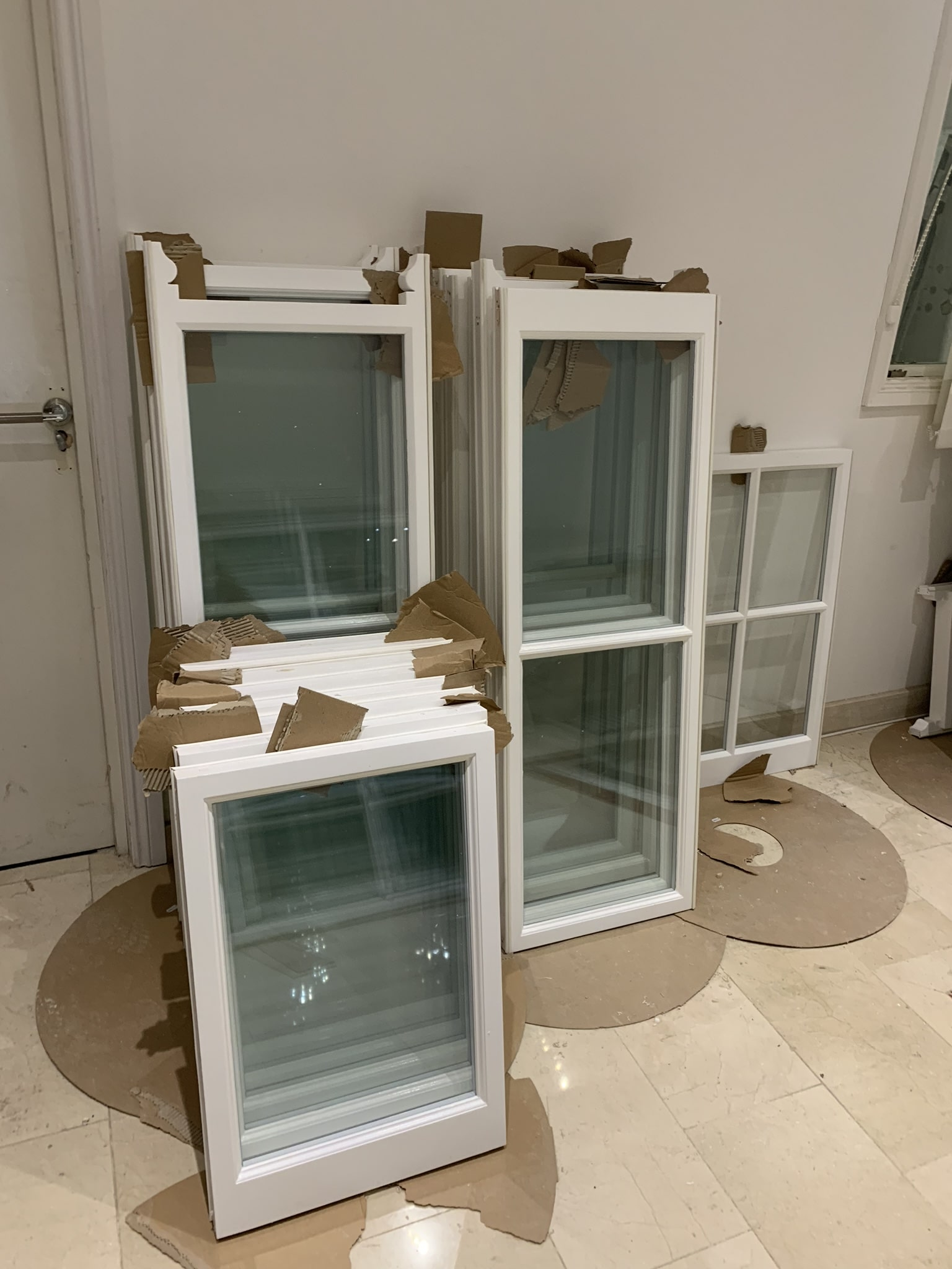 Double glazed, sliding sash window.