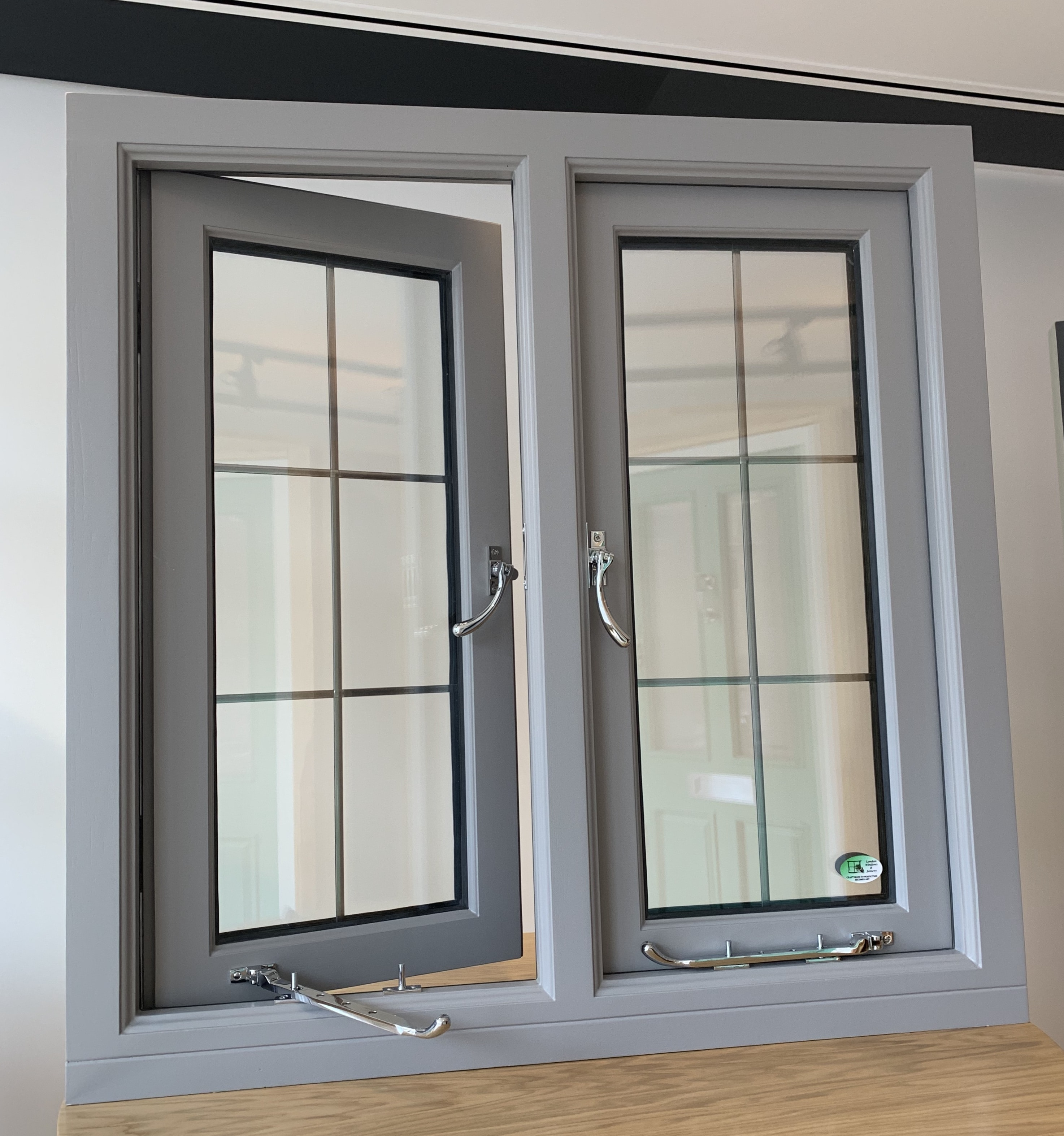 Double glazed window, traditional flash casement. Toughened glass with lead bars. Fully factory finished.