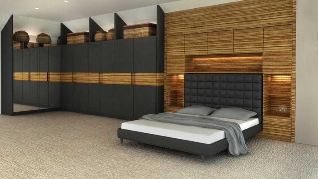Master bedroom wardrobe with bed unit