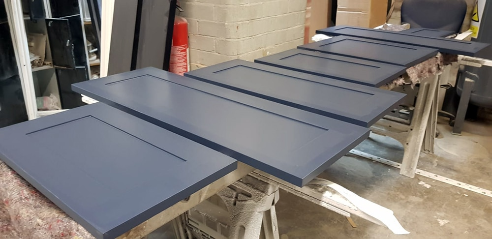 Cabinet doors in production